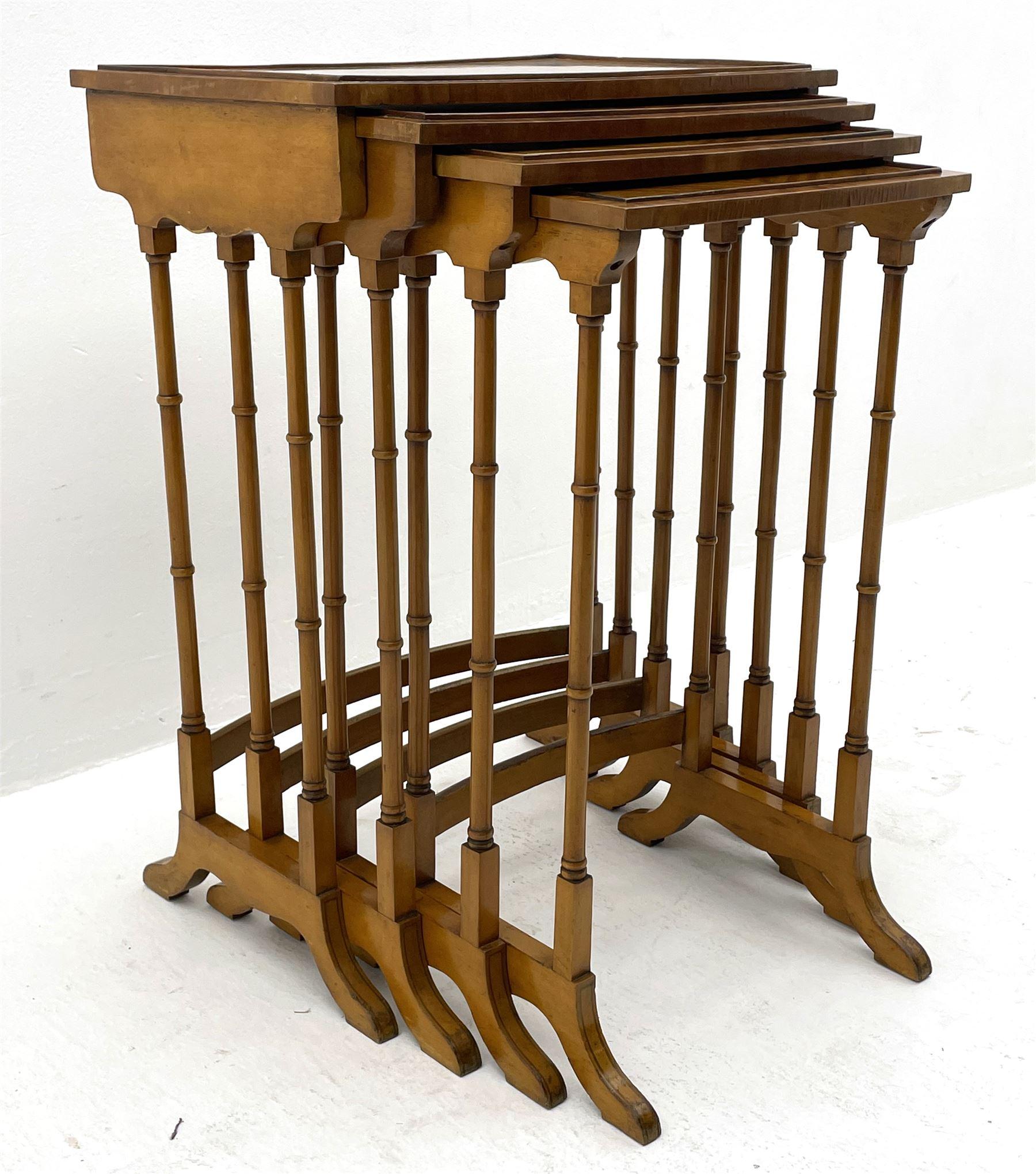 Edwardian satinwood quartetto nest of occasional tables - Image 4 of 6