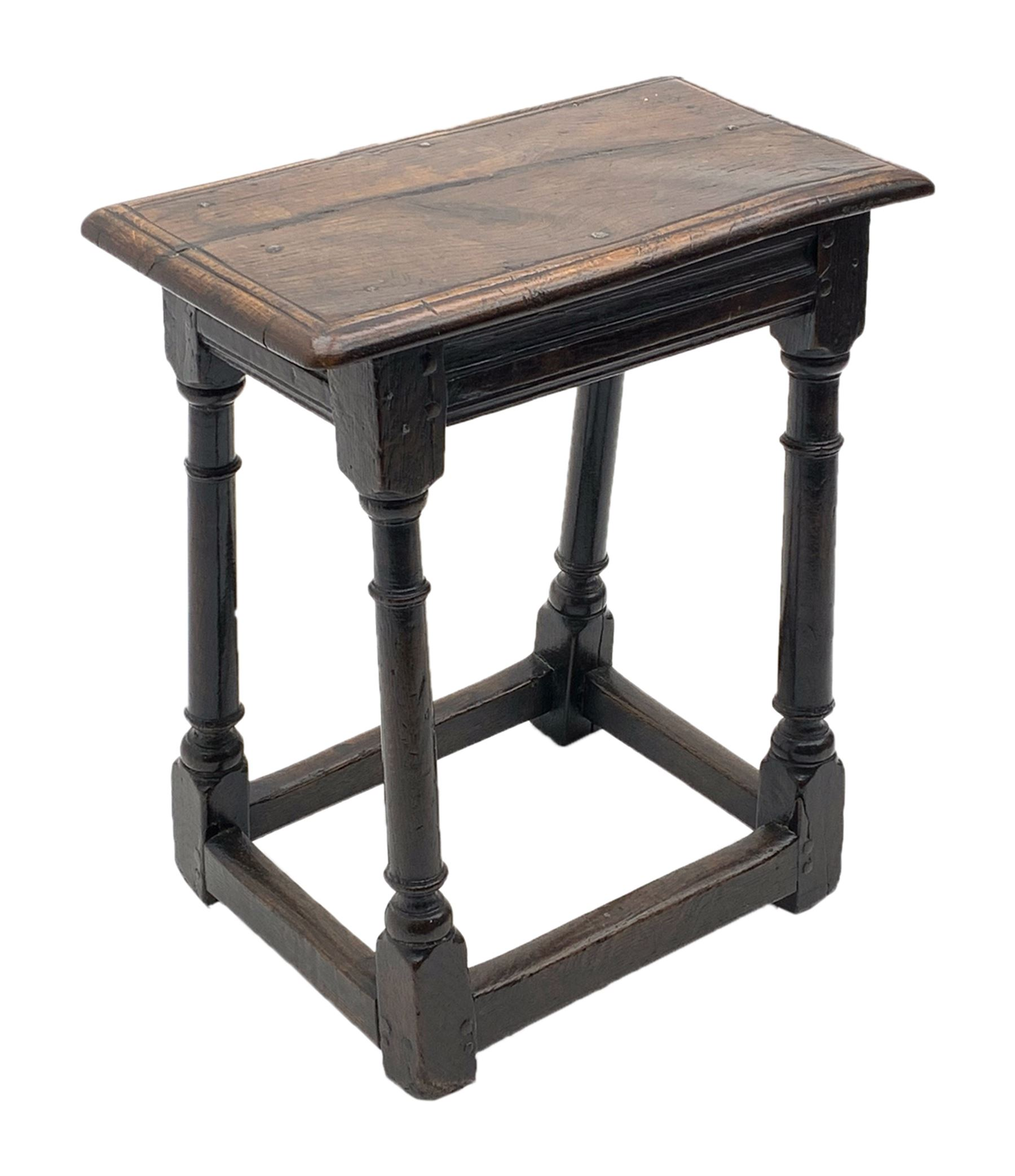 Late 17th century oak joined stool