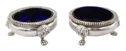 Pair of early 20th century Georgian style silver open salts
