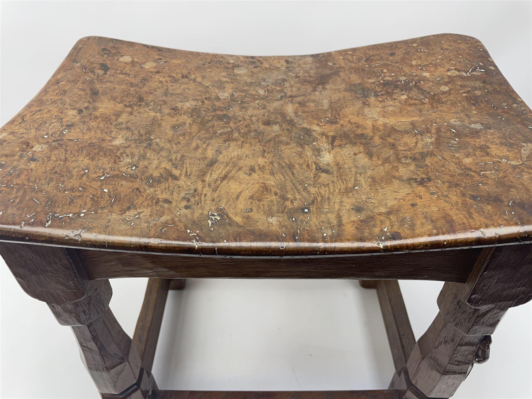 'Mouseman' 1940s adzed oak joint stool - Image 5 of 7