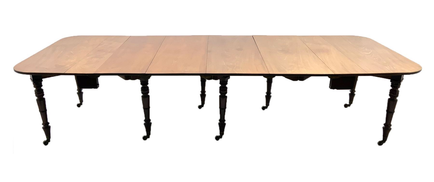 George III mahogany extending dining table - Image 2 of 6