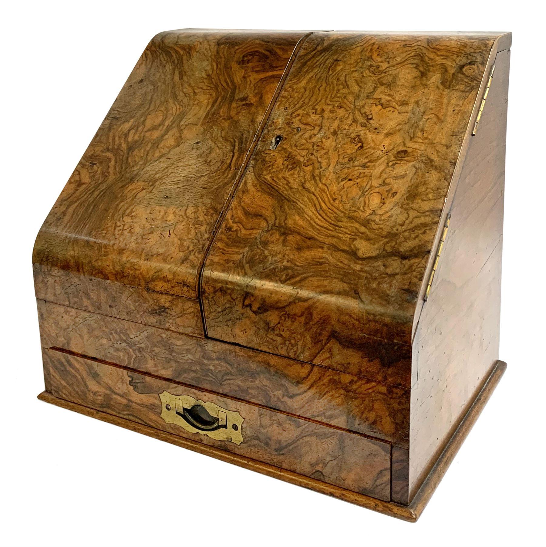 Late Victorian walnut correspondence box