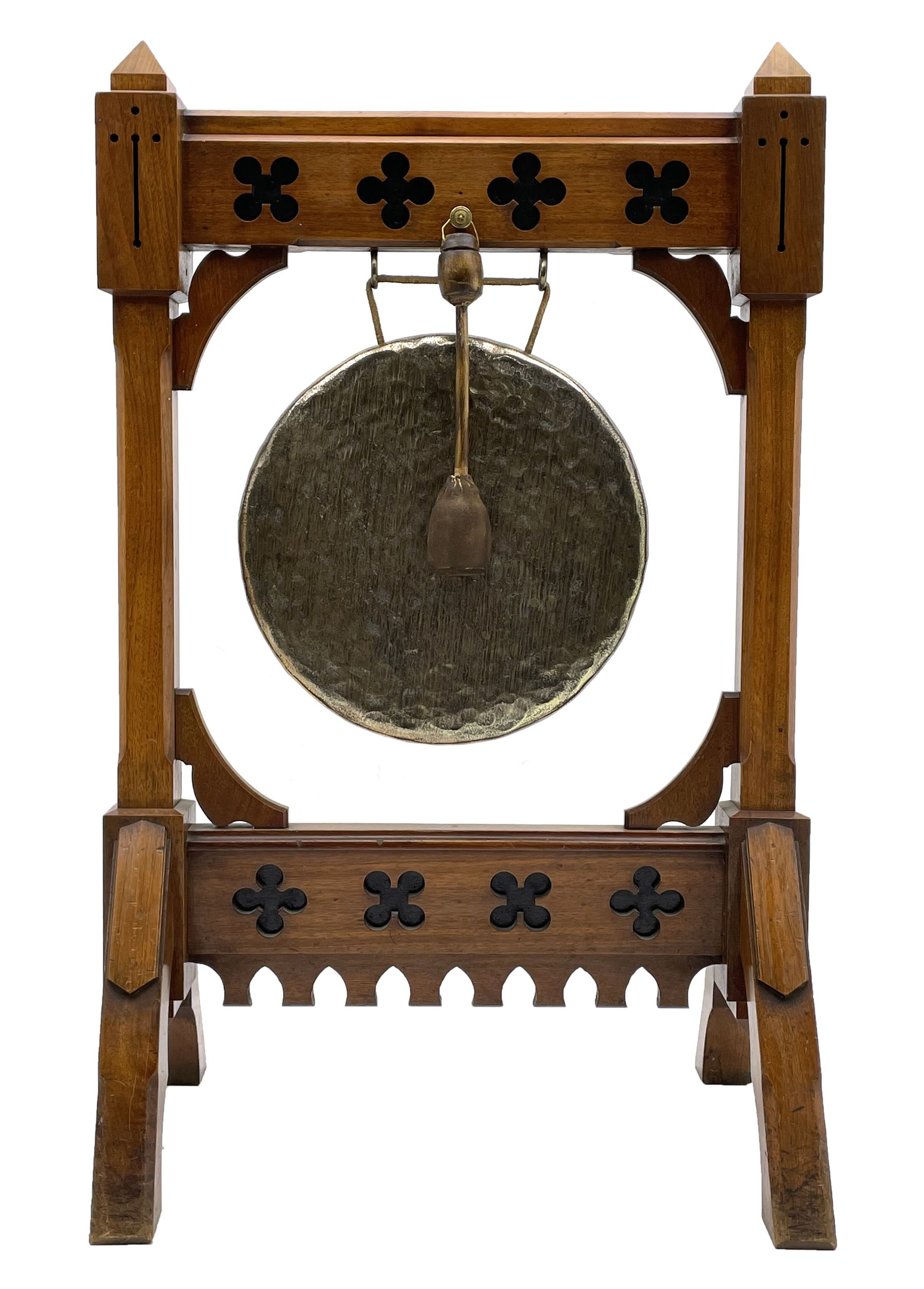 Late Victorian Aesthetic Movement walnut and ebonised dinner gong