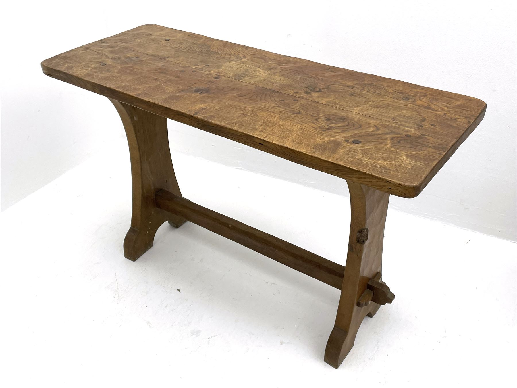 'Gnomeman' adzed oak side table - Image 4 of 4