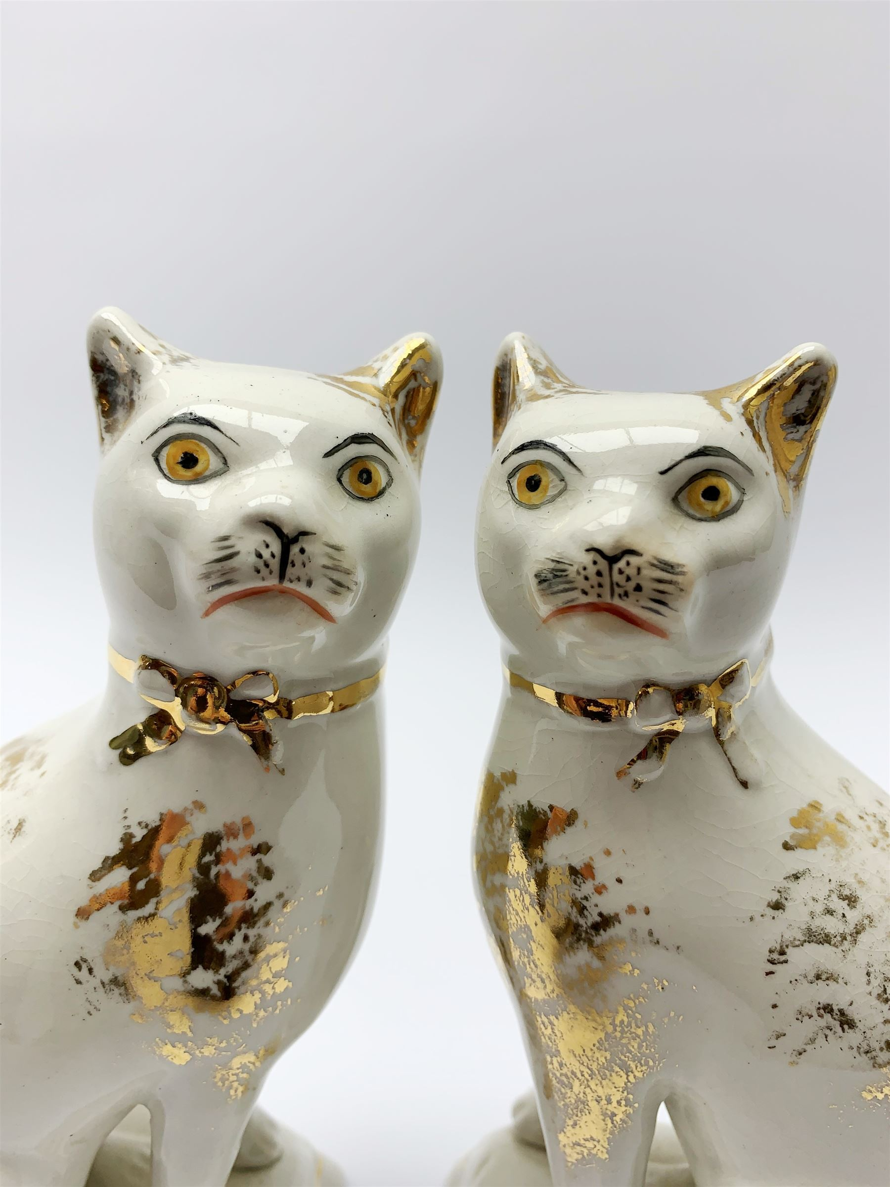 Pair of Victorian Staffordshire cats - Image 3 of 11