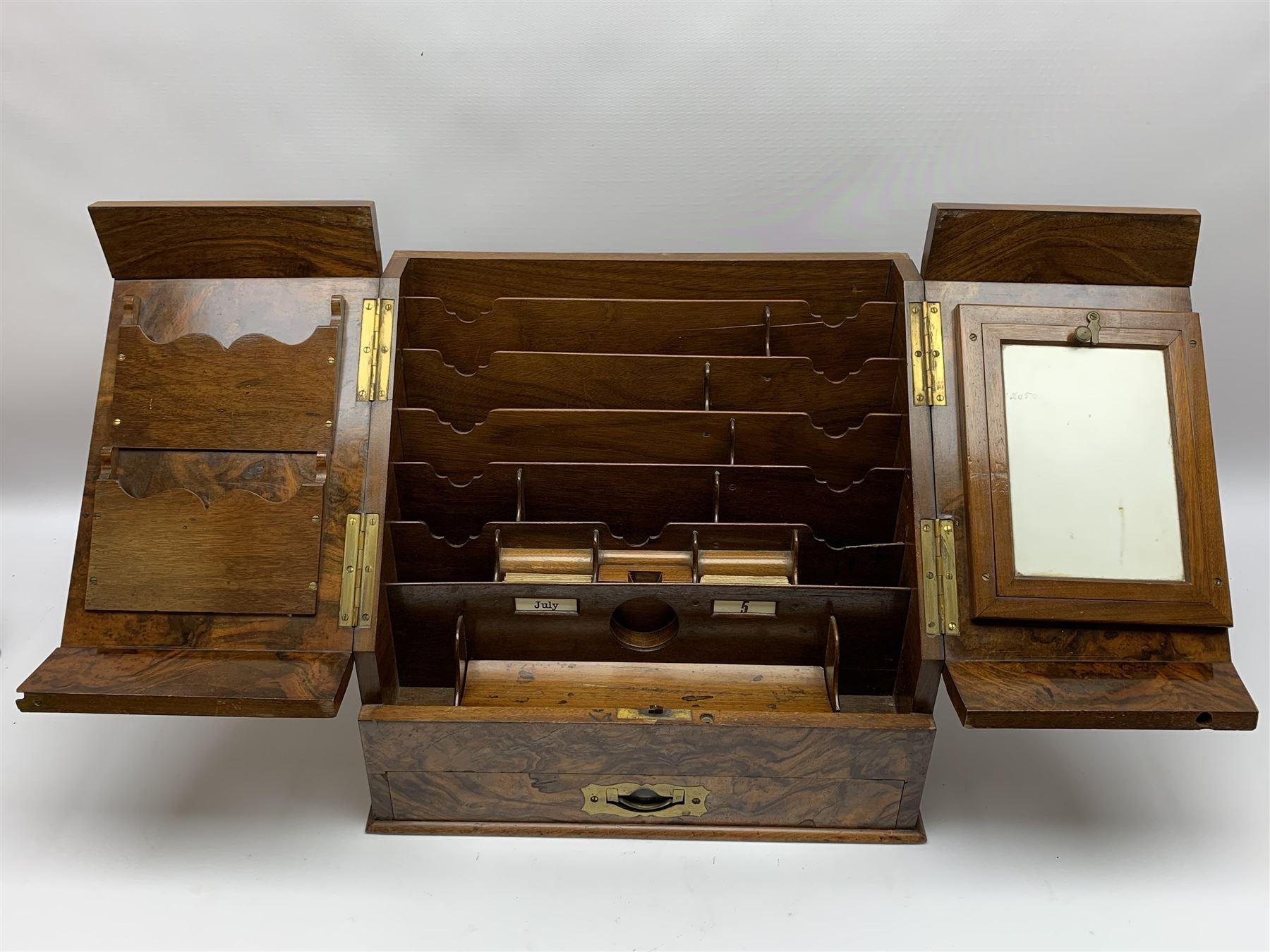 Late Victorian walnut correspondence box - Image 7 of 13
