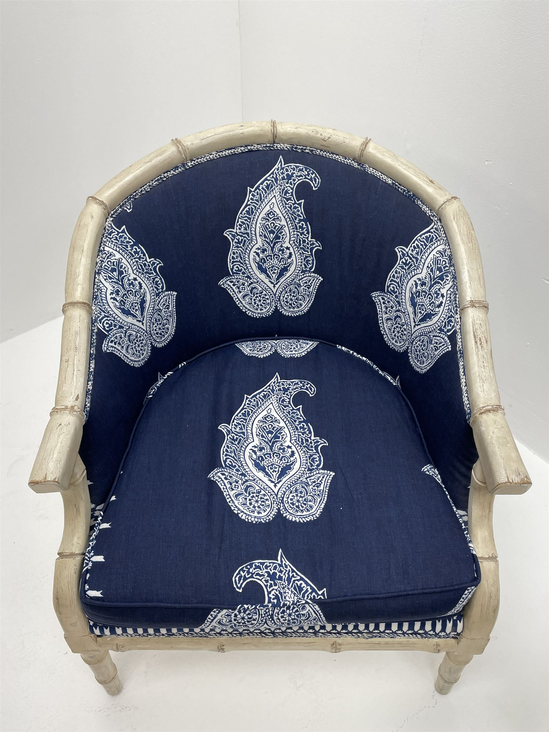 Pair contemporary tub shaped armchairs with faux bamboo wooden frames - Image 4 of 6