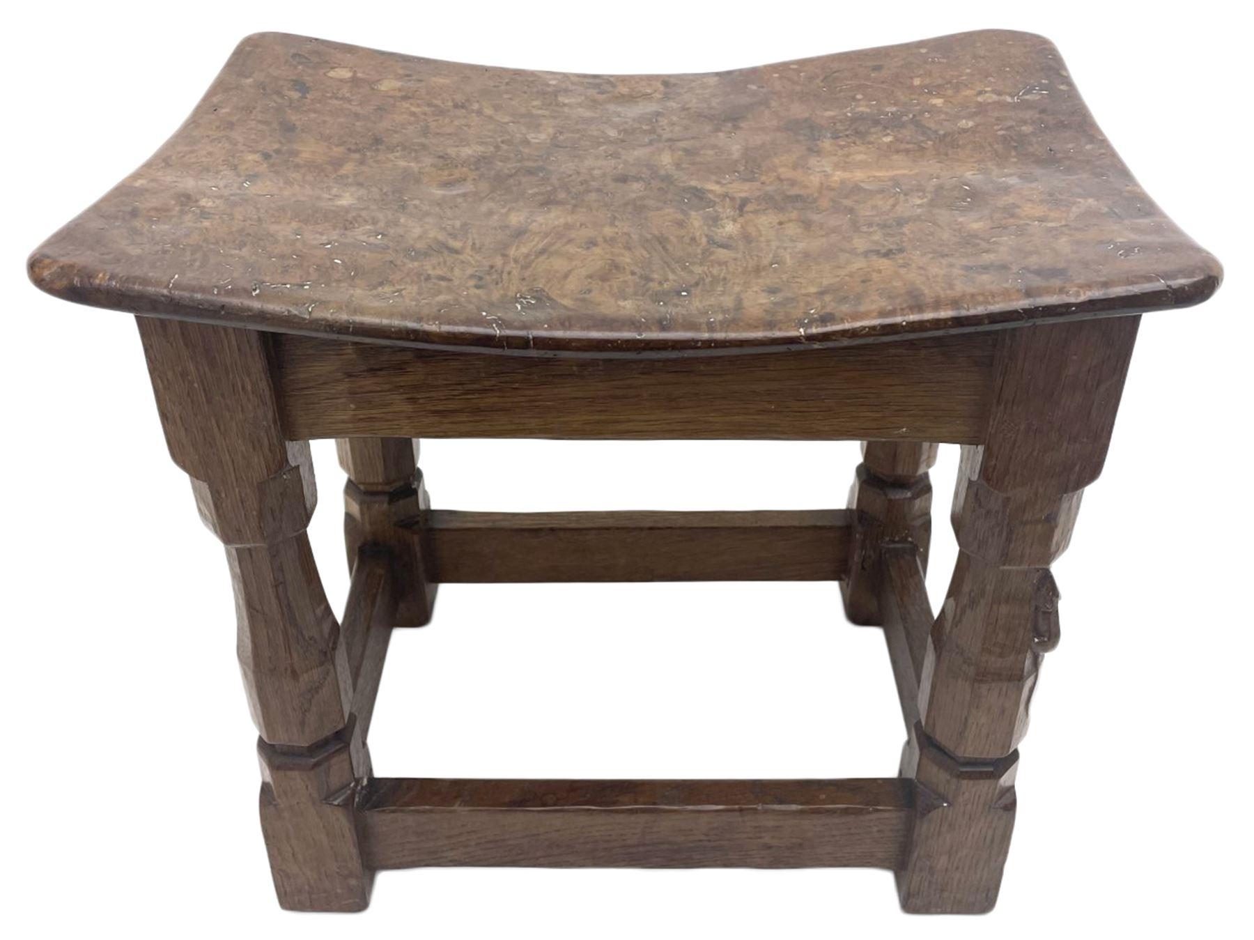 'Mouseman' 1940s adzed oak joint stool