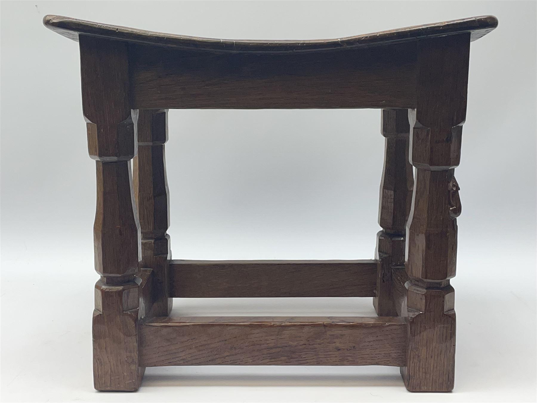 'Mouseman' 1940s adzed oak joint stool - Image 4 of 7