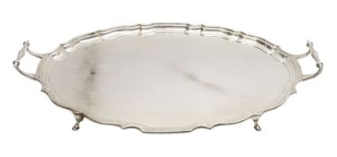 Large early 20th century silver serving tray