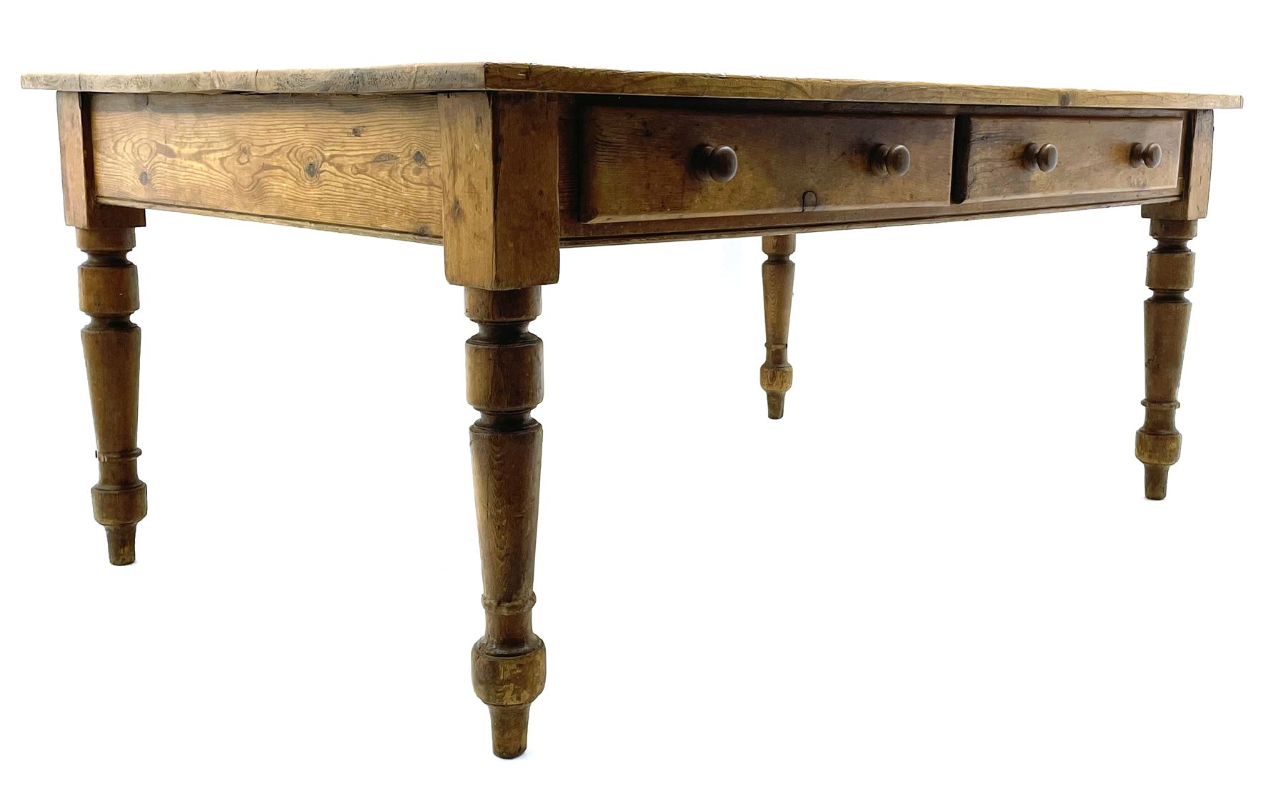 19th century and later pine farmhouse style kitchen dining table