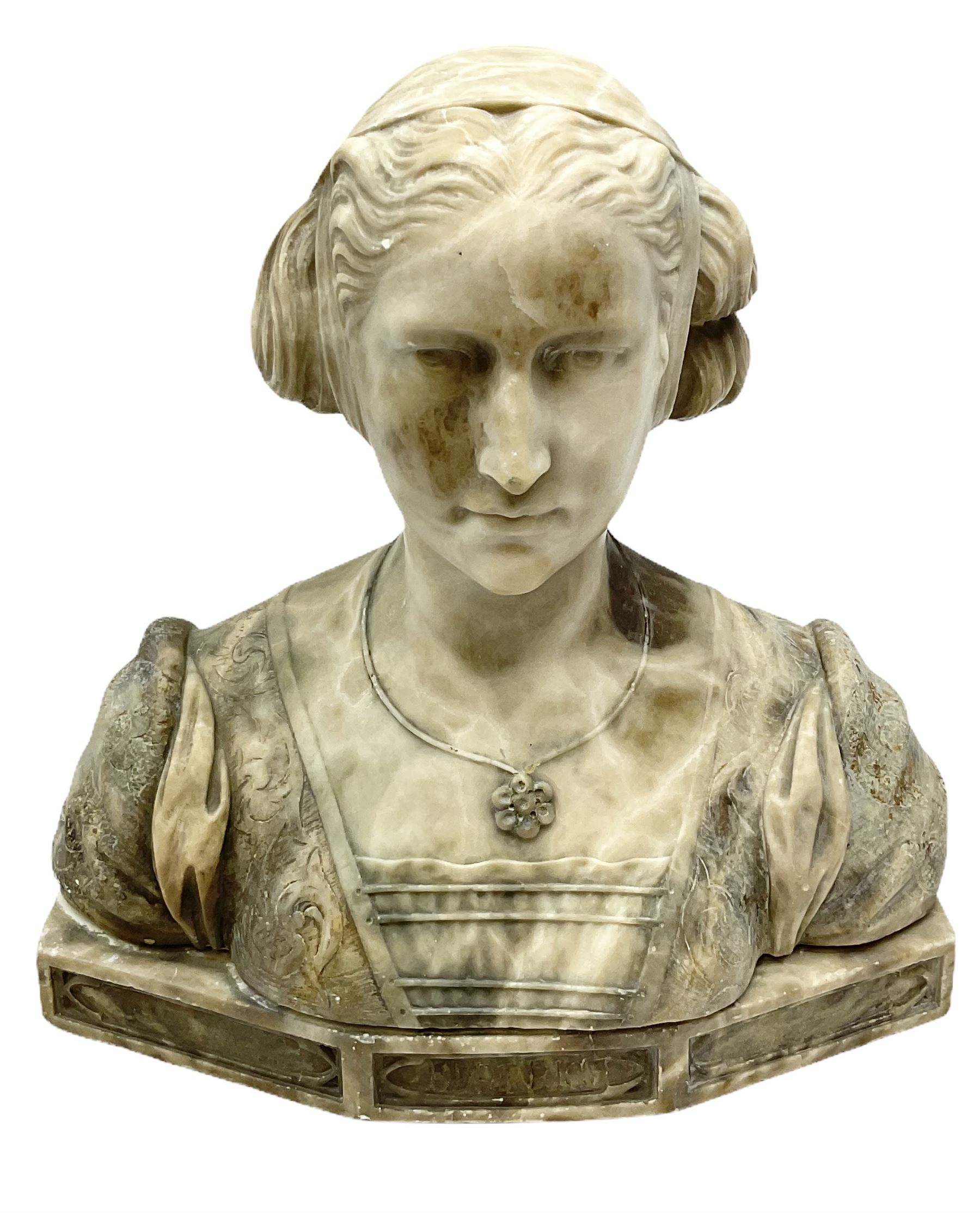 Carved marble bust modelled as a female figure