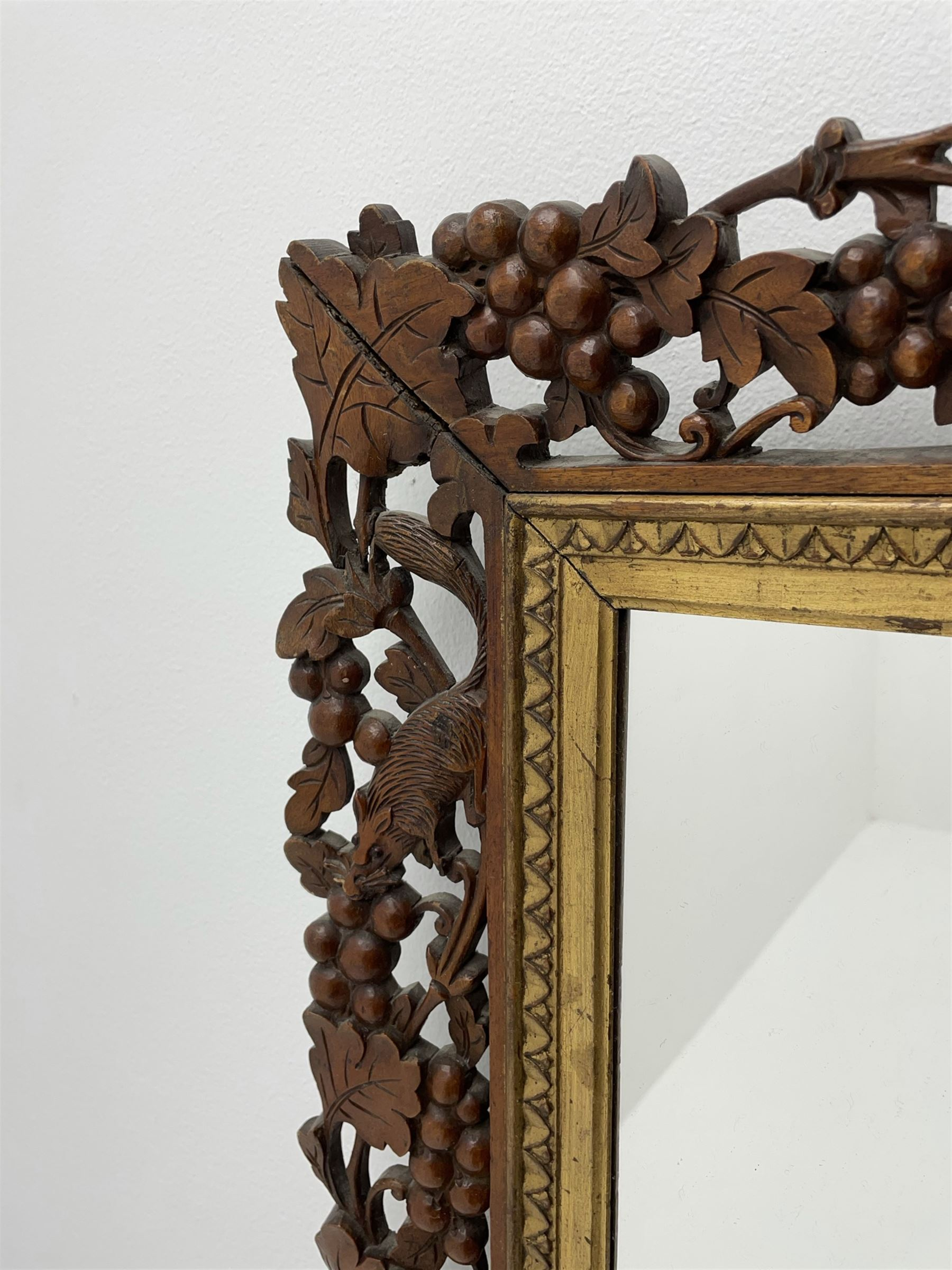 20th century rectangular wall mirror in walnut frame carved and pierced with foliage and berry decor - Image 2 of 4