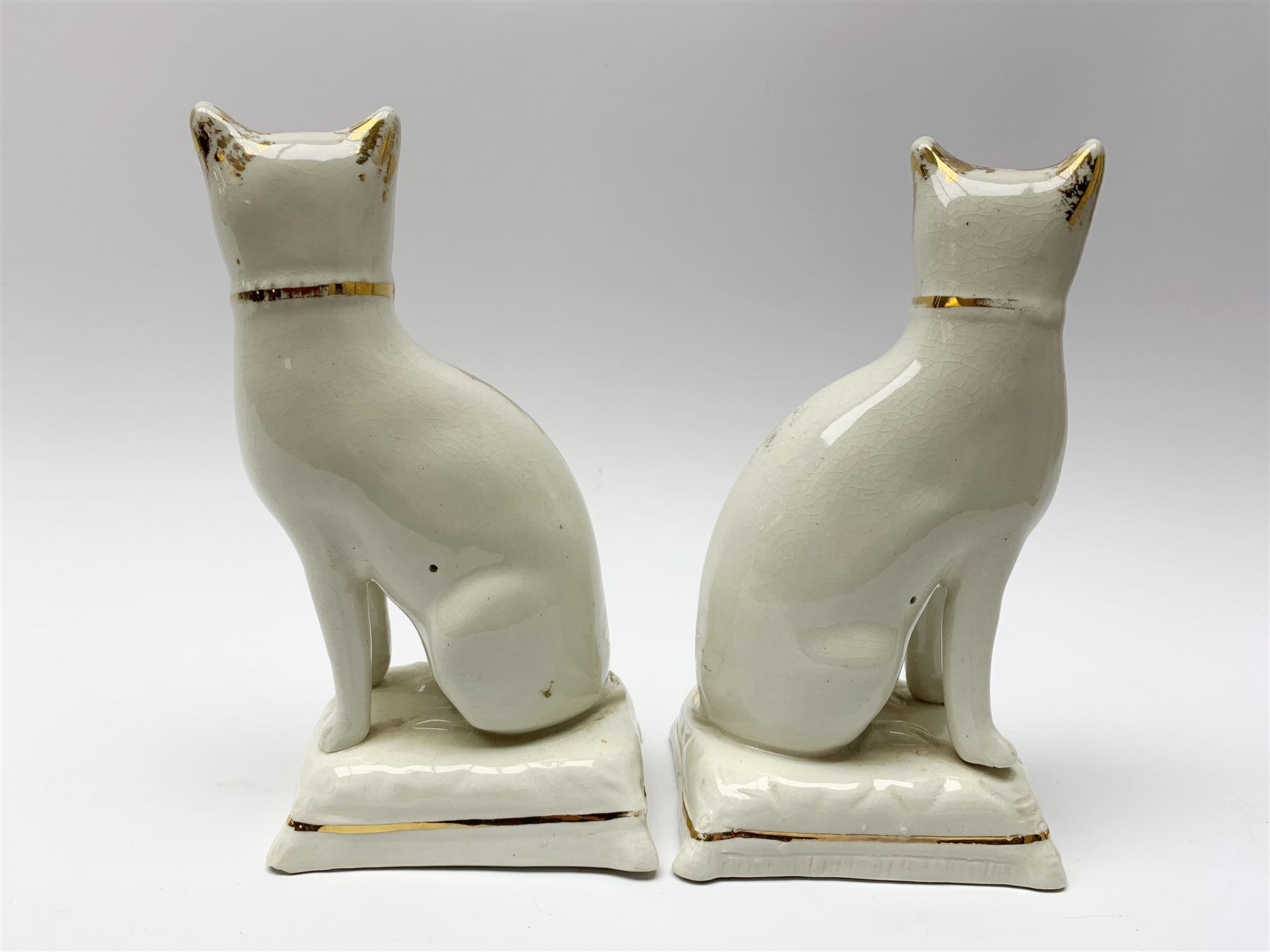 Pair of Victorian Staffordshire cats - Image 9 of 11