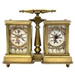 Brass and bevelled glass cased carriage timepiece clock and barometer