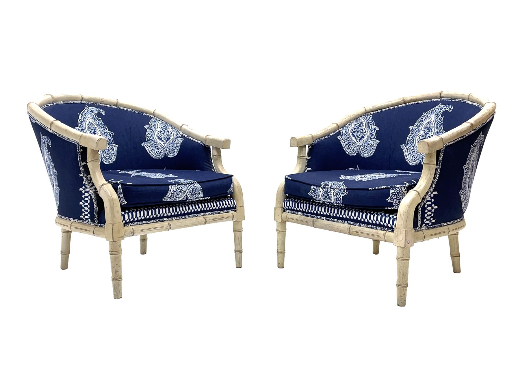 Pair contemporary tub shaped armchairs with faux bamboo wooden frames