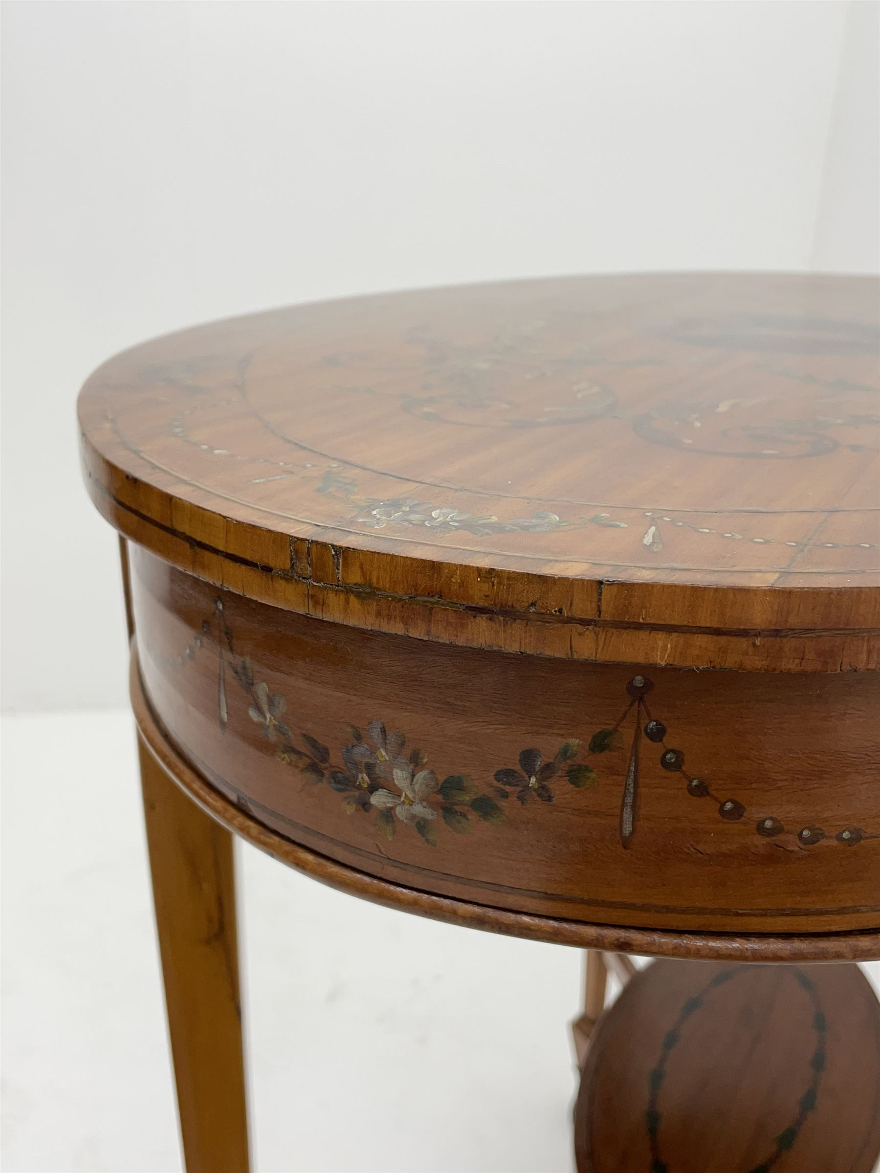 Edwardian Sheraton revival satinwood and painted centre table - Image 8 of 8