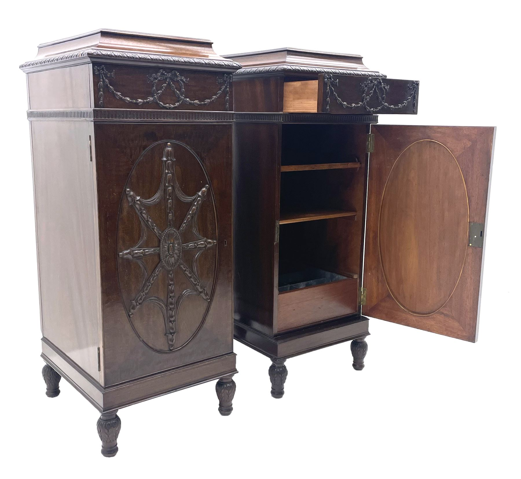 Pair early 20th century Hepplewhite style mahogany pedestal cabinets