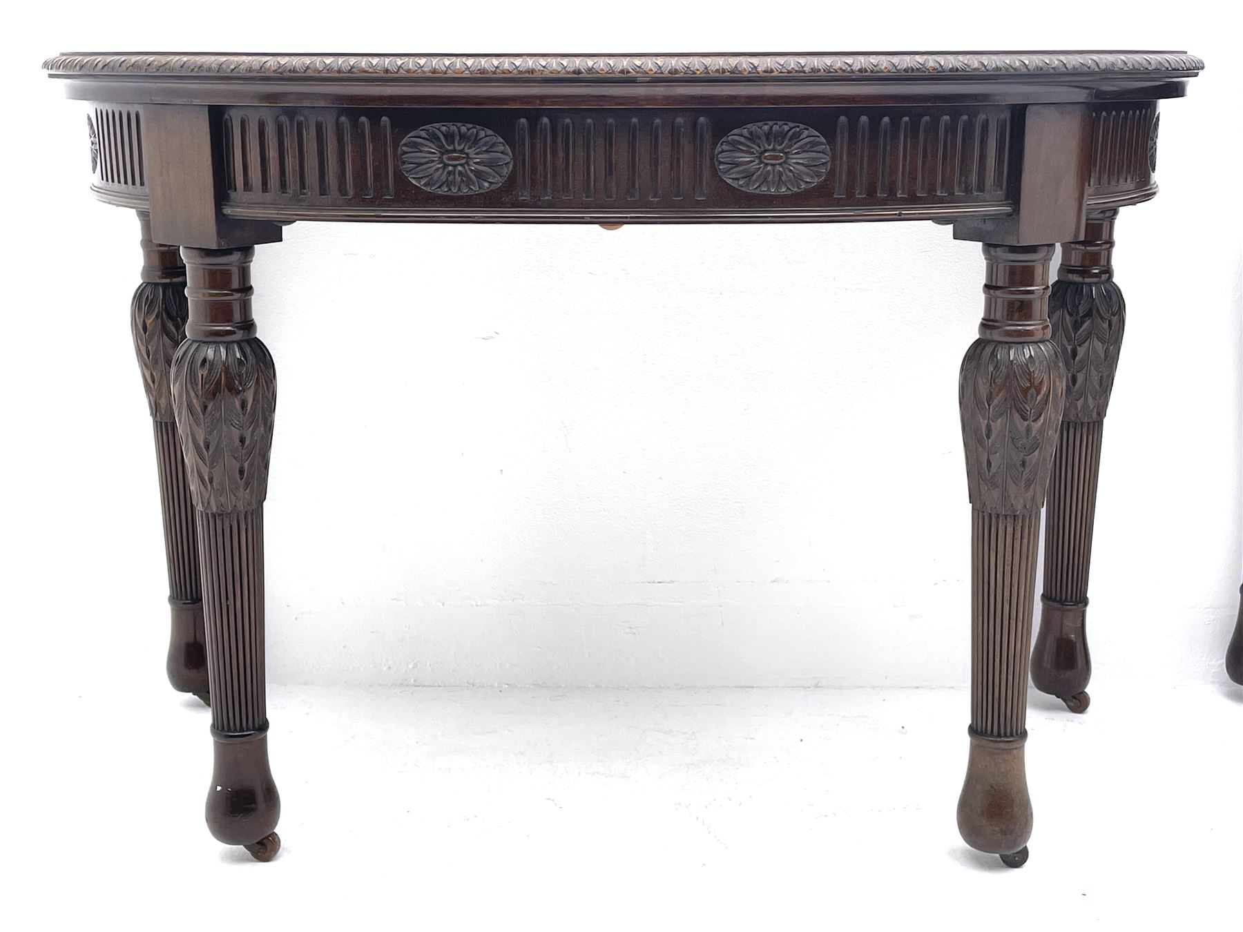 Pair early 20th century Hepplewhite style mahogany D-end console tables - Image 2 of 7