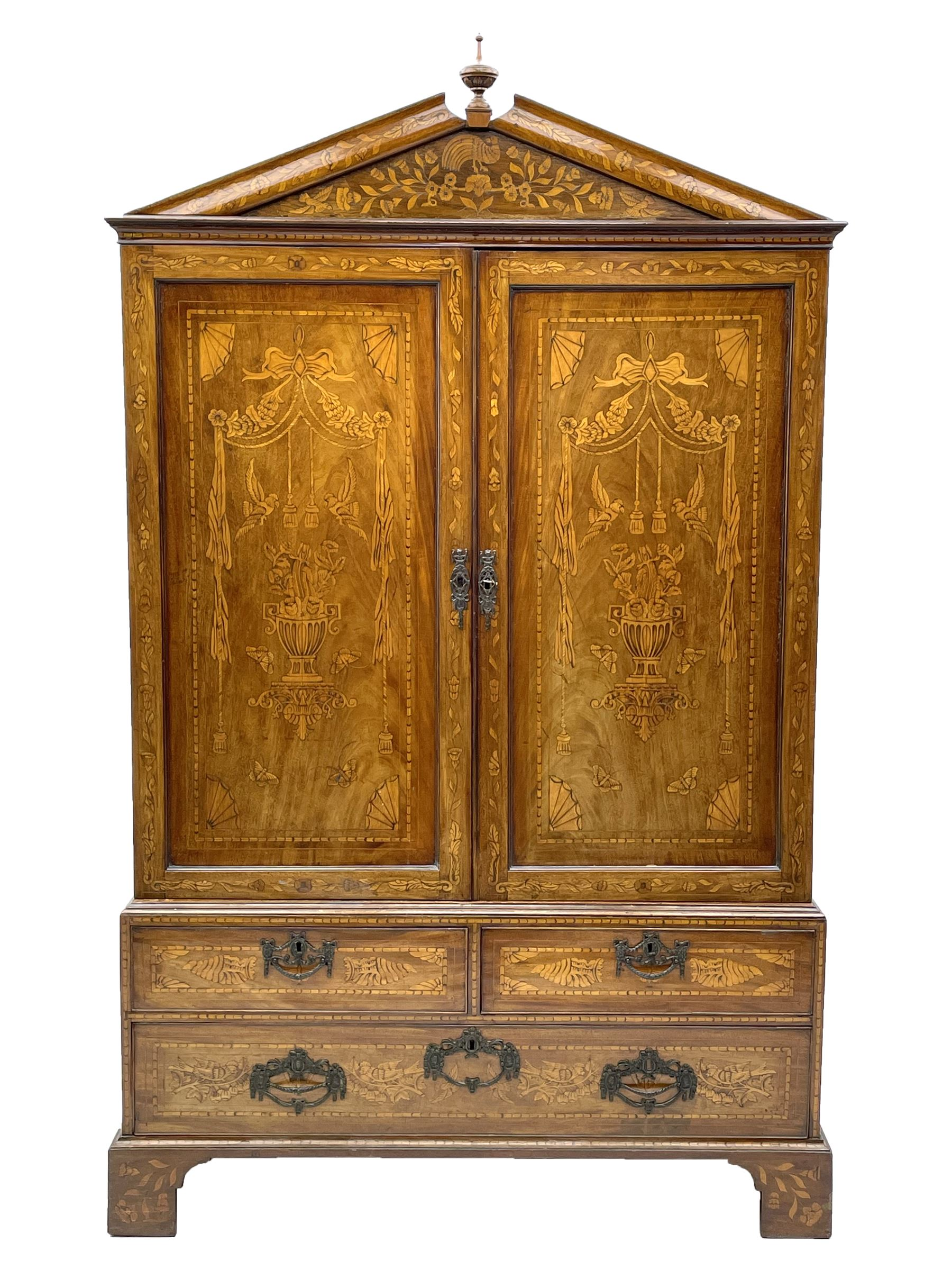 Georgian mahogany Dutch style marquetry press cupboard on chest