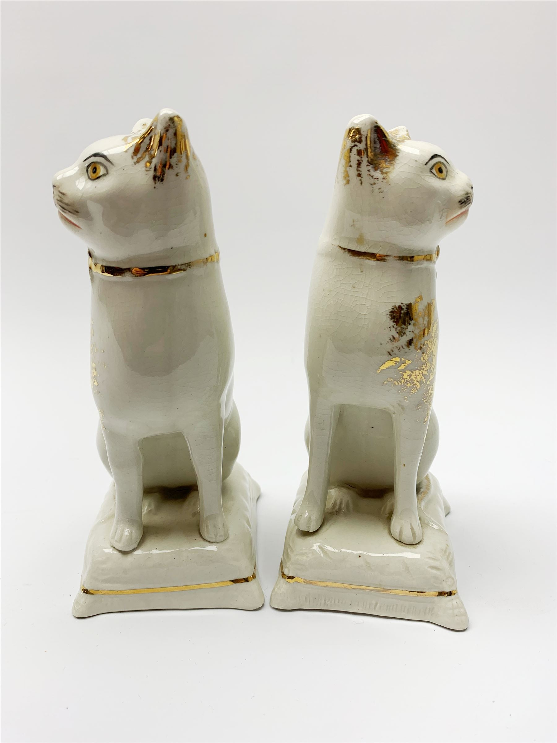 Pair of Victorian Staffordshire cats - Image 10 of 11
