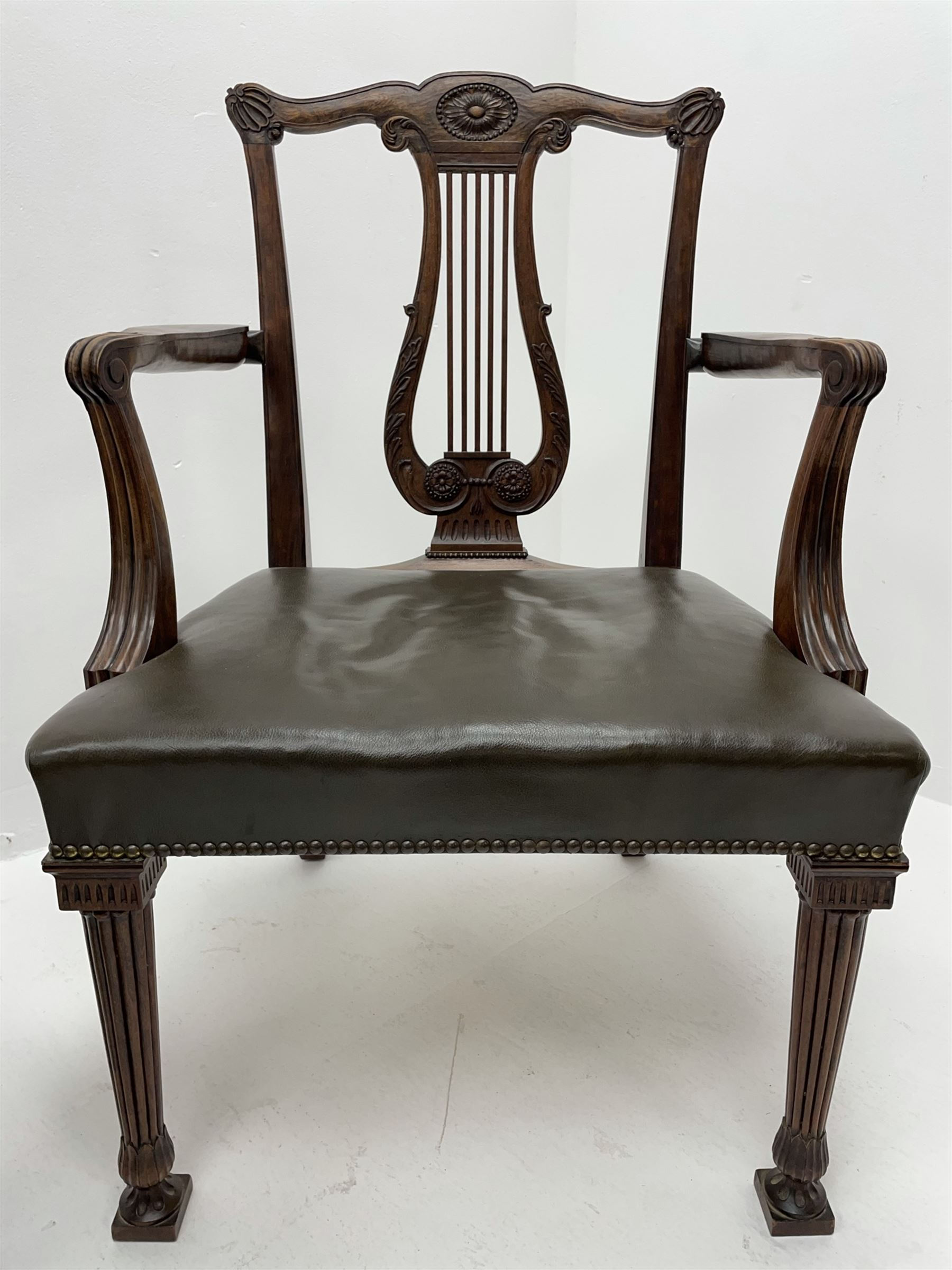 Pair late 20th century cherry wood Chippendale style elbow chairs - Image 6 of 8