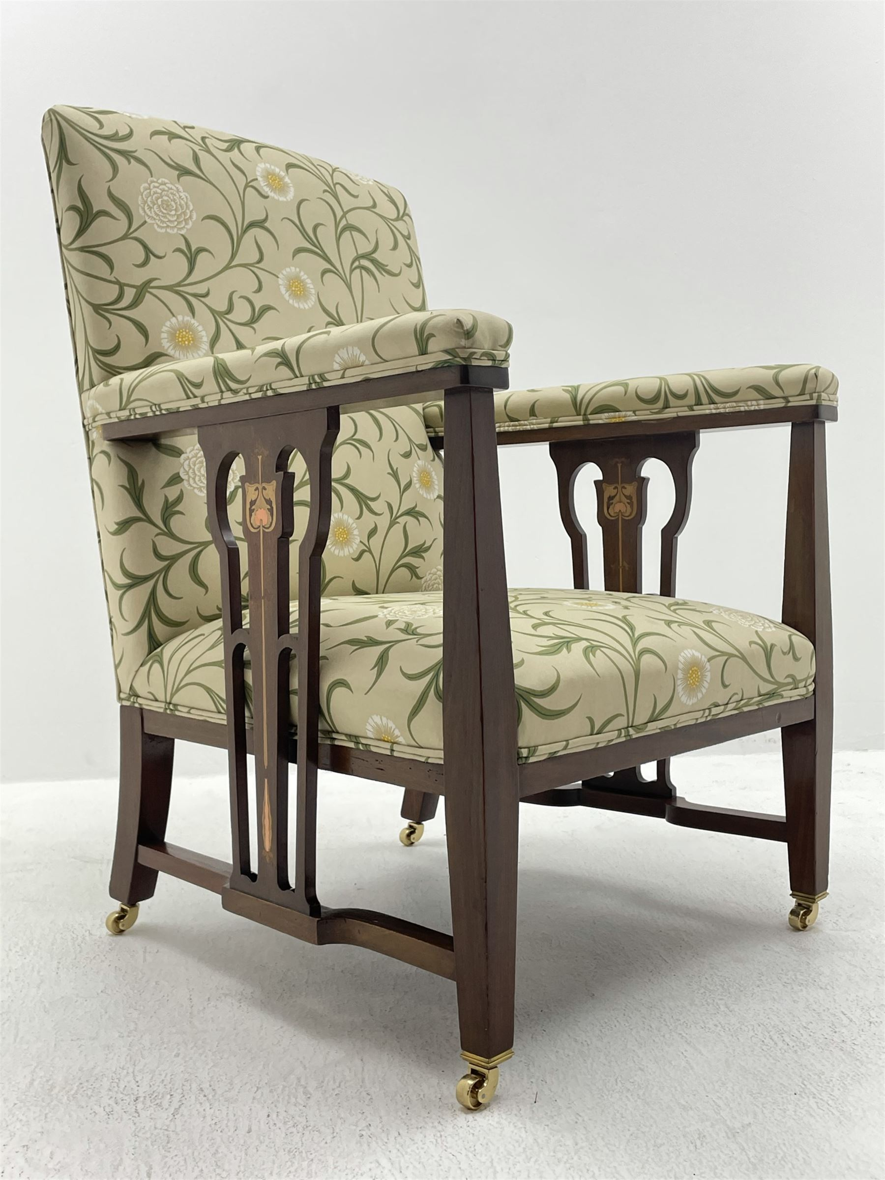 Late 19th century Arts and Crafts mahogany armchair - Image 2 of 7