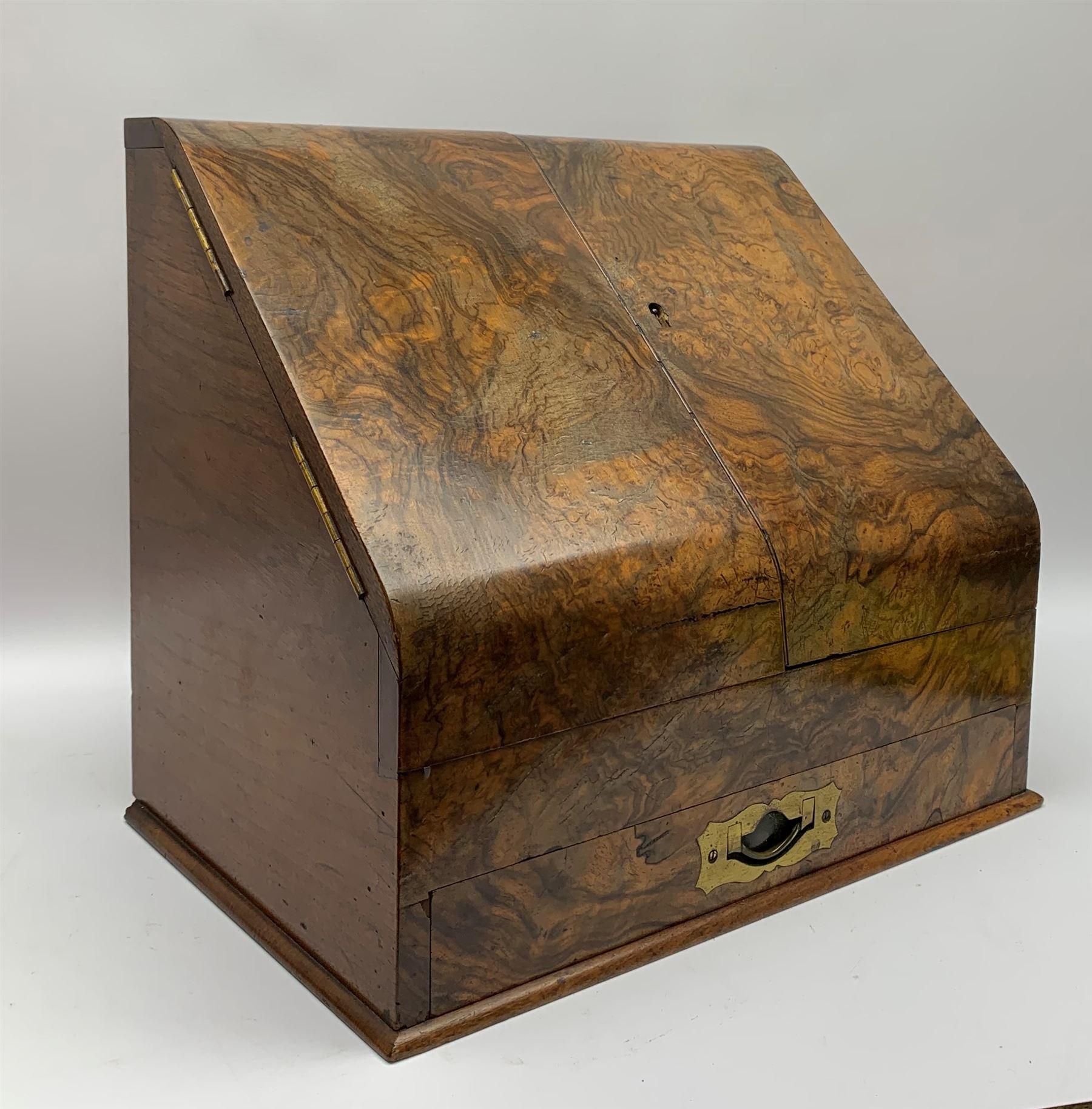 Late Victorian walnut correspondence box - Image 6 of 13