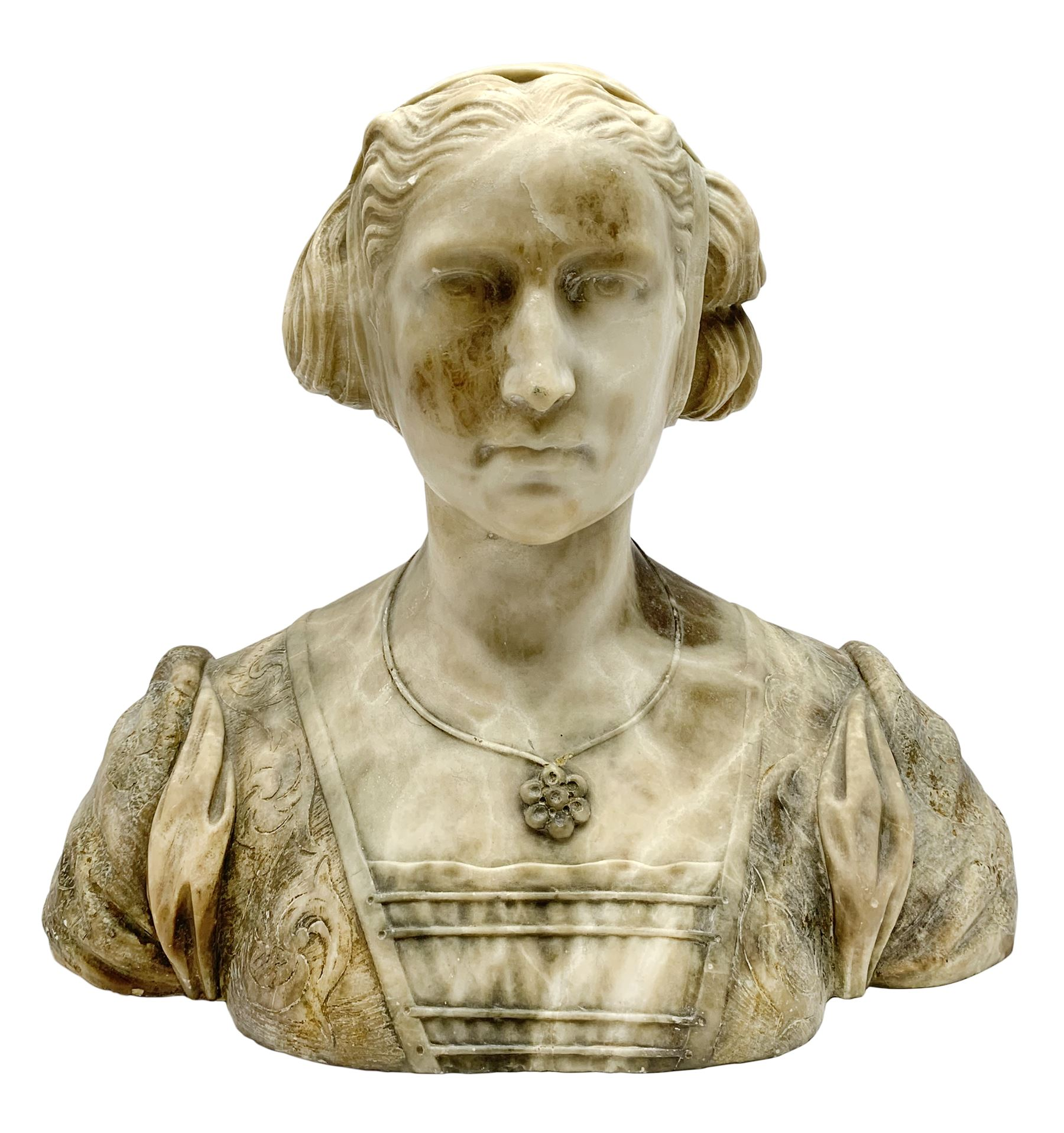 Carved marble bust modelled as a female figure - Image 2 of 10