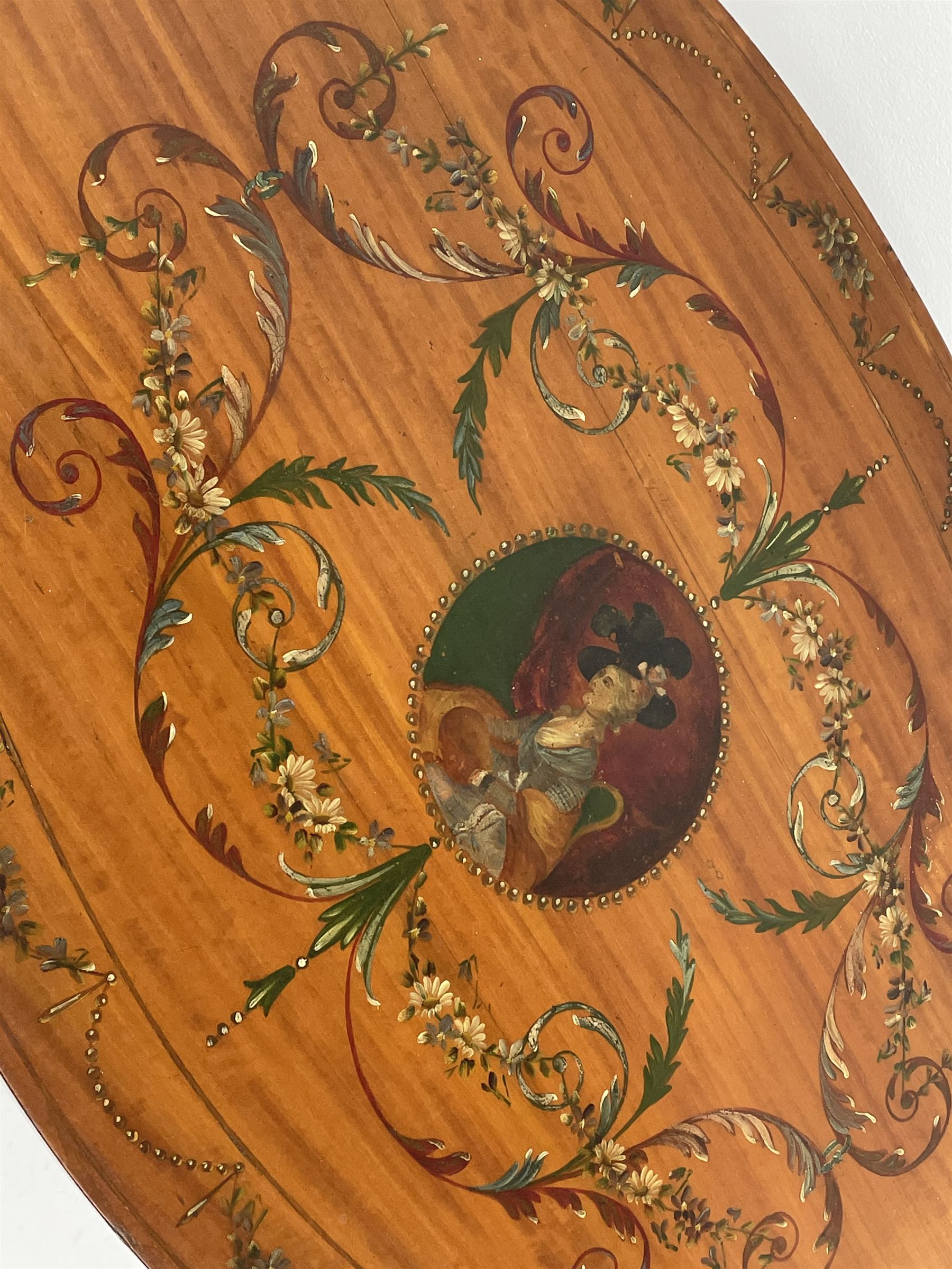 Edwardian Sheraton revival satinwood and painted centre table - Image 3 of 8