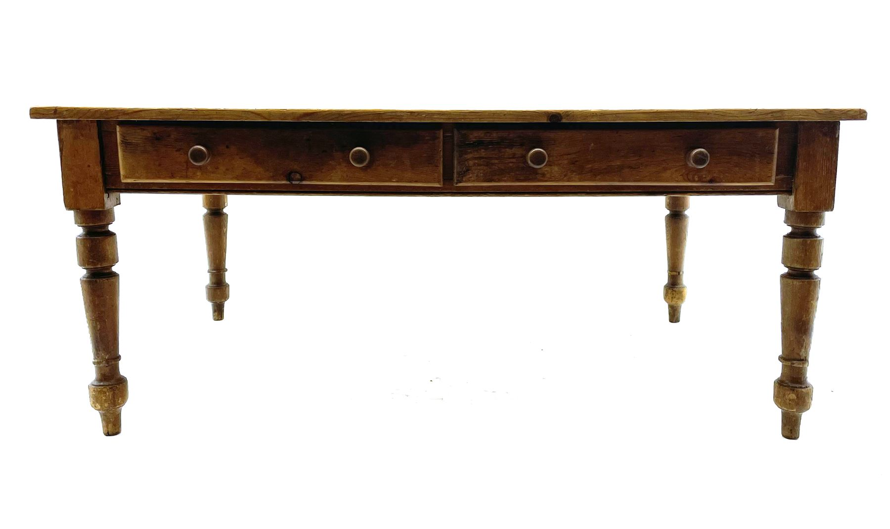 19th century and later pine farmhouse style kitchen dining table - Image 2 of 4