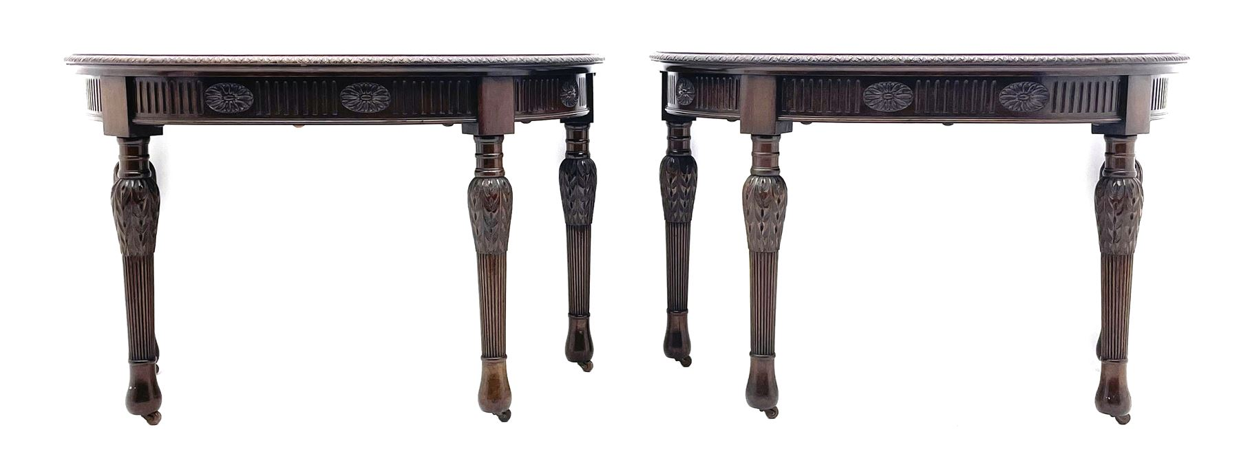 Pair early 20th century Hepplewhite style mahogany D-end console tables