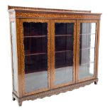 Early 20th century mahogany and Dutch style marquetry display cabinet