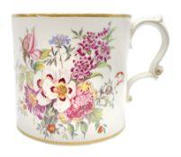 Large 19th century Staffordshire mug with scroll handle
