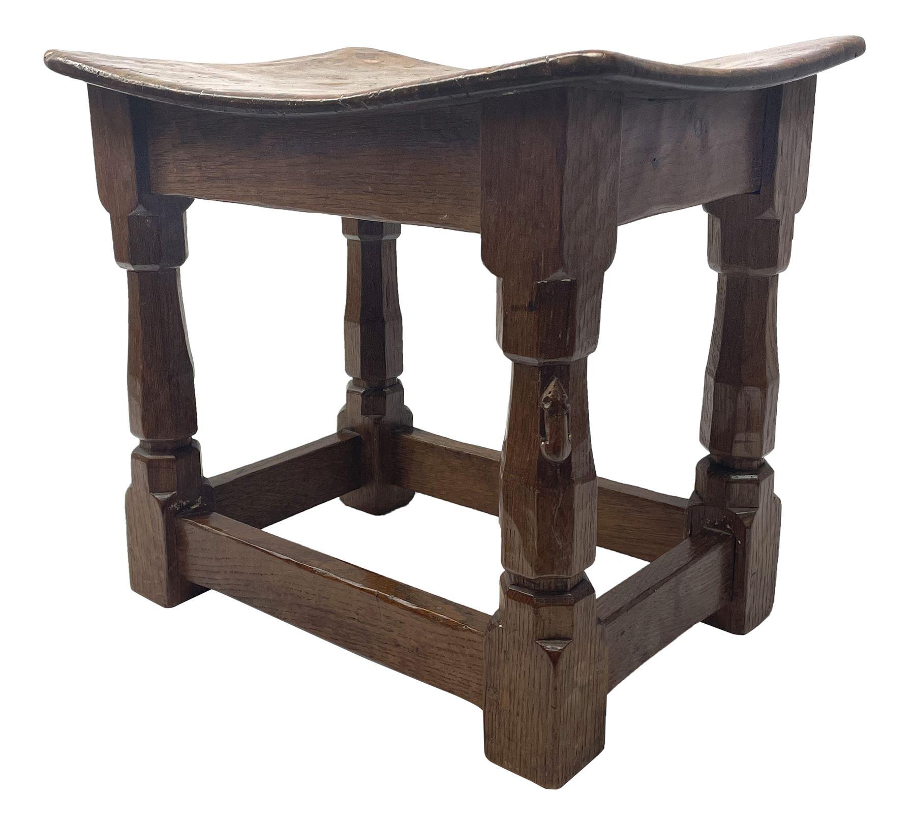 'Mouseman' 1940s adzed oak joint stool - Image 2 of 7