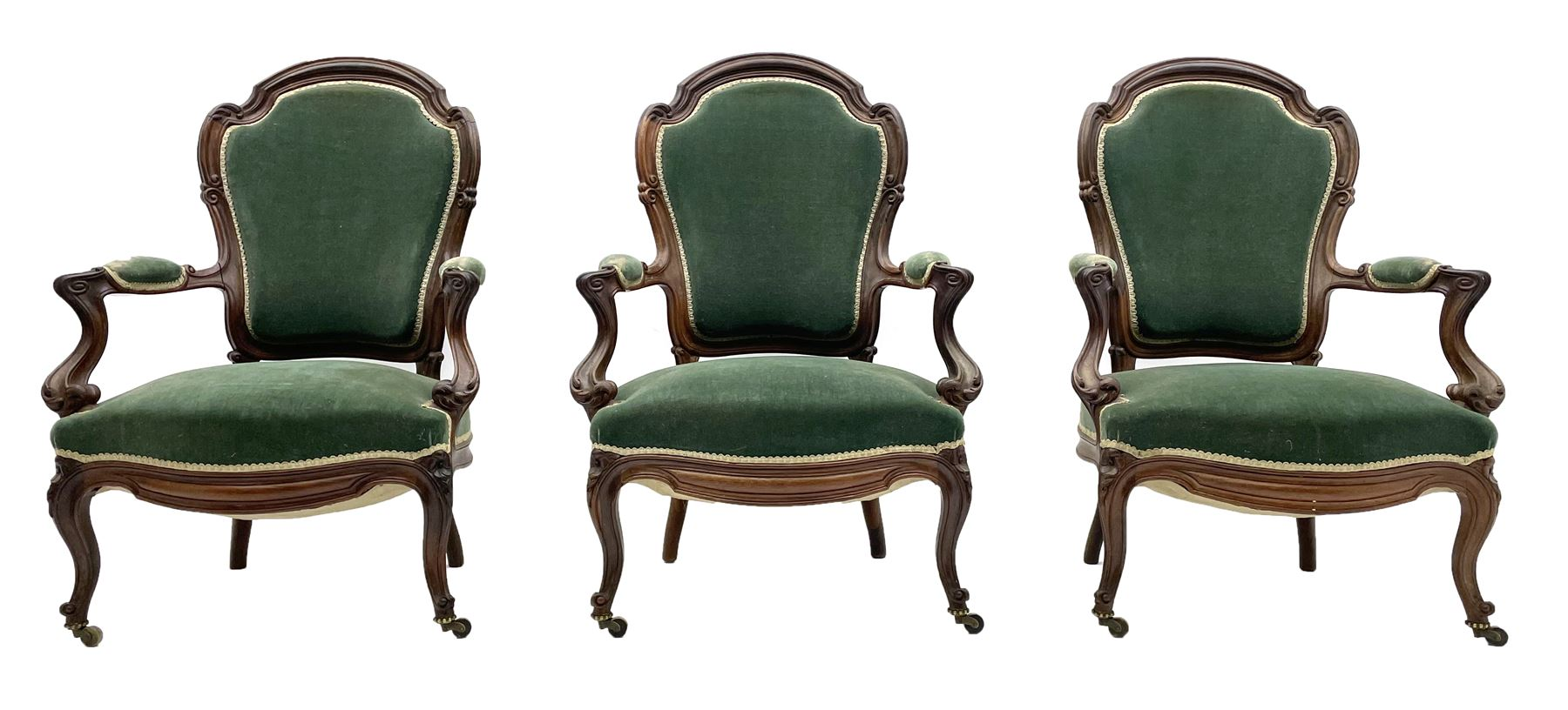 Set three Victorian rosewood drawing room open armchairs