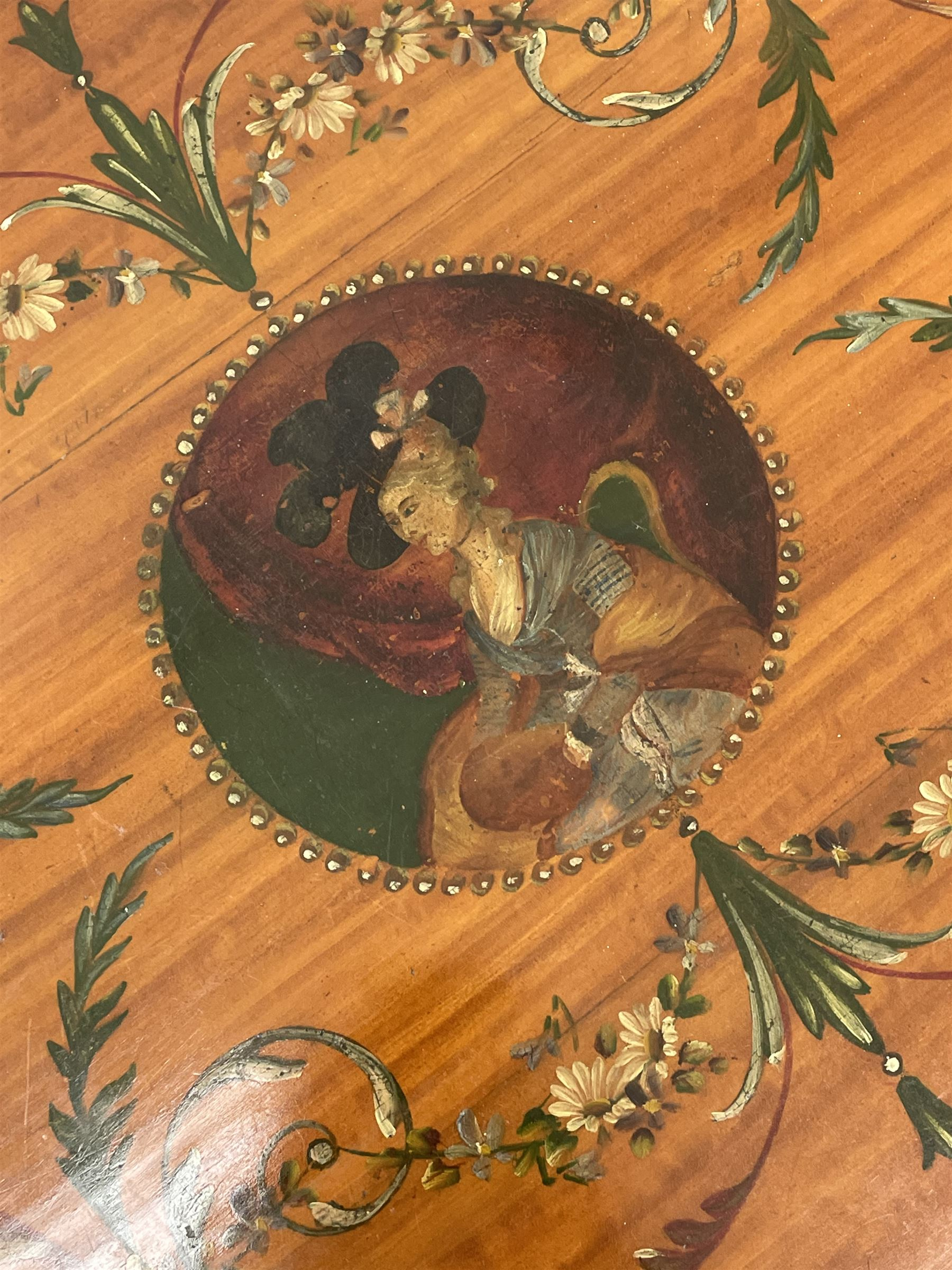 Edwardian Sheraton revival satinwood and painted centre table - Image 4 of 8