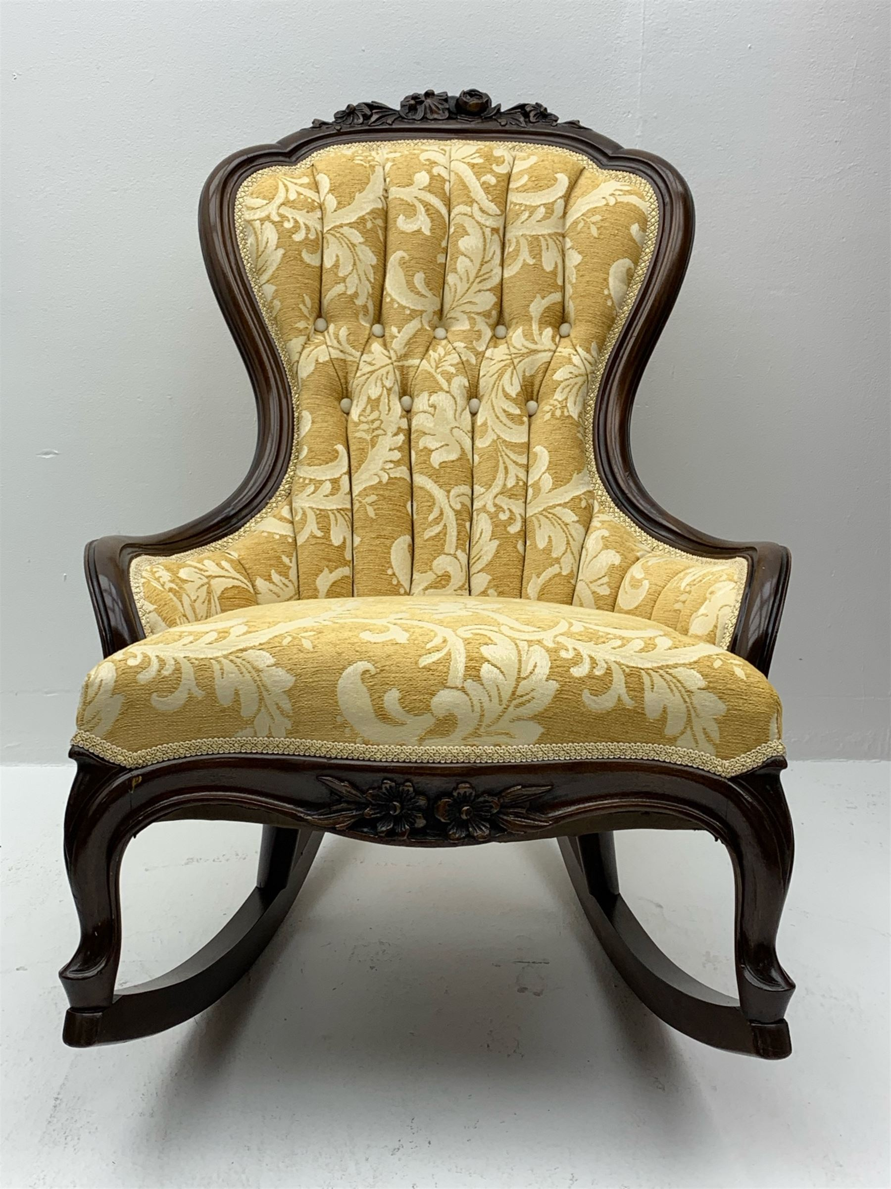 Early 20th century rocking chair with raised floral and foliate carving to frame - Image 2 of 3