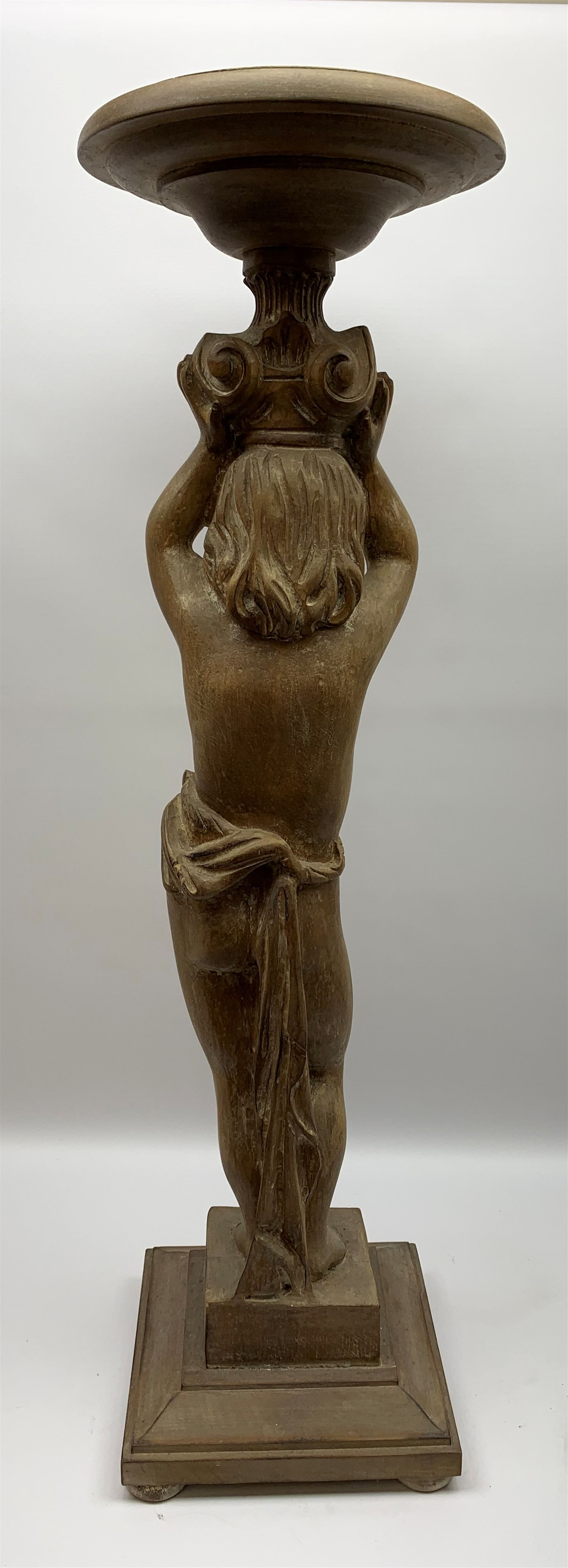 Italian carved lime wood torchère, the column modelled as a putto with arms raised supporting a - Image 9 of 9