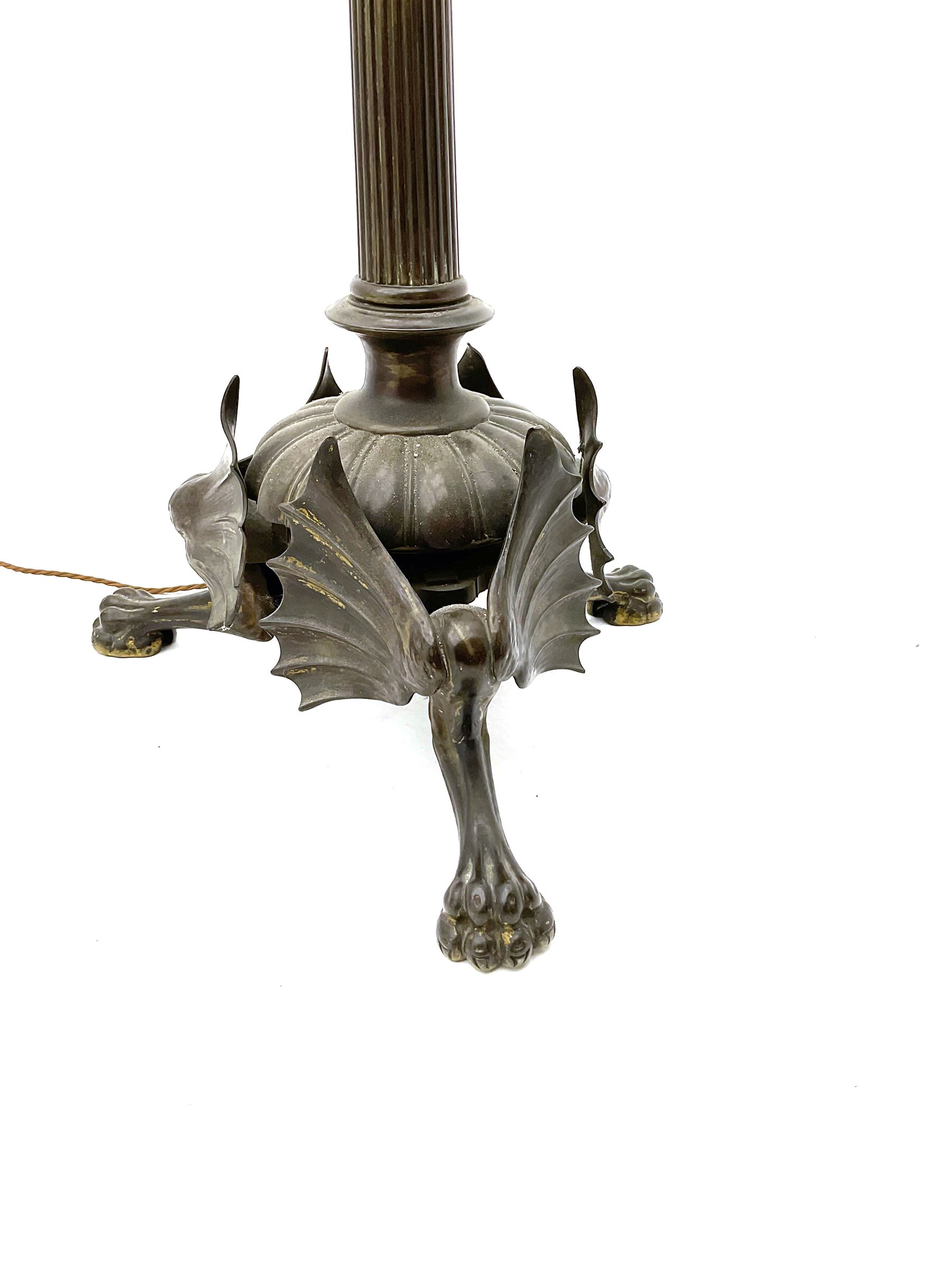 19th century heavy bronze floor standing lamp with traces of gilding - Image 2 of 3