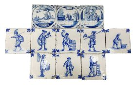 18th/19th century Delft blue and white tiles