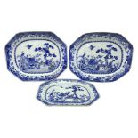 Three late 18th/early 19th century Chinese export blue and white platters