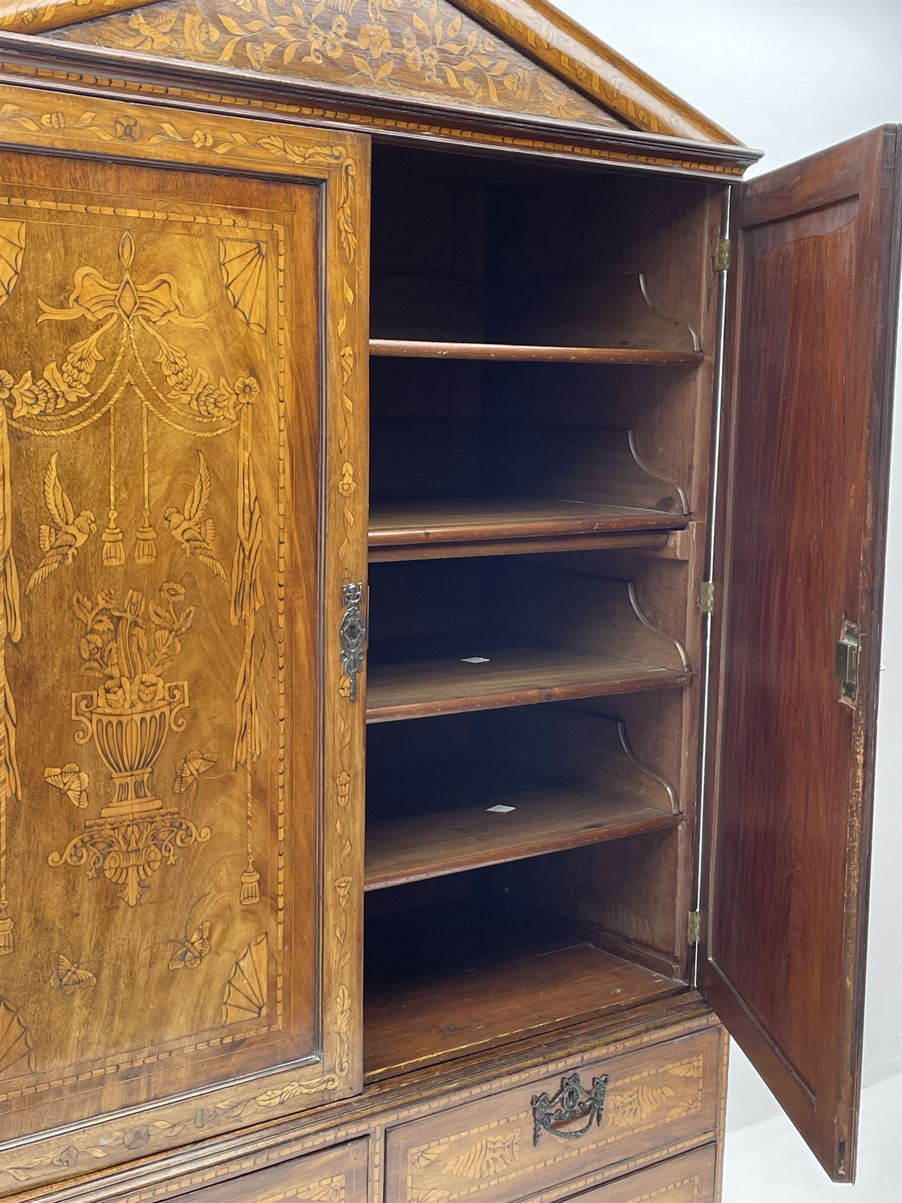 Georgian mahogany Dutch style marquetry press cupboard on chest - Image 6 of 8