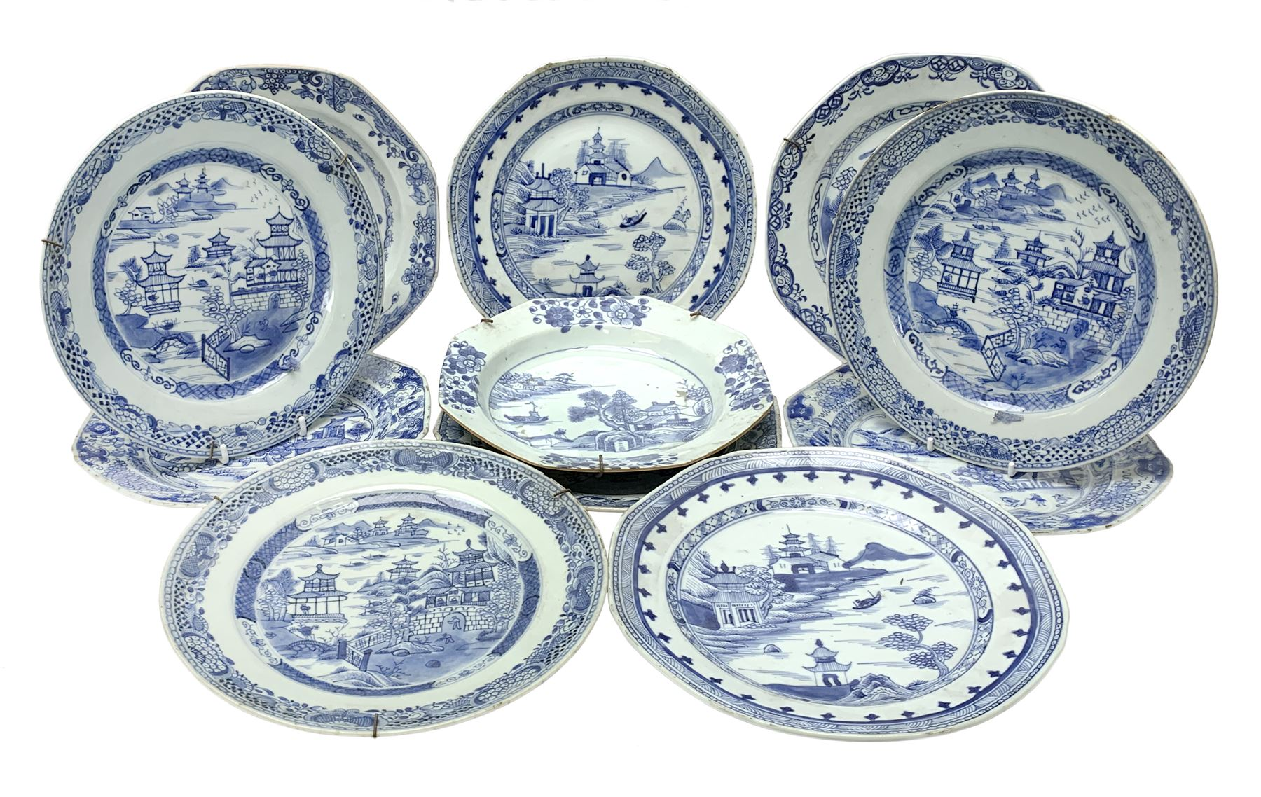 Late 18th/early 19th century Chinese export blue and white porcelain