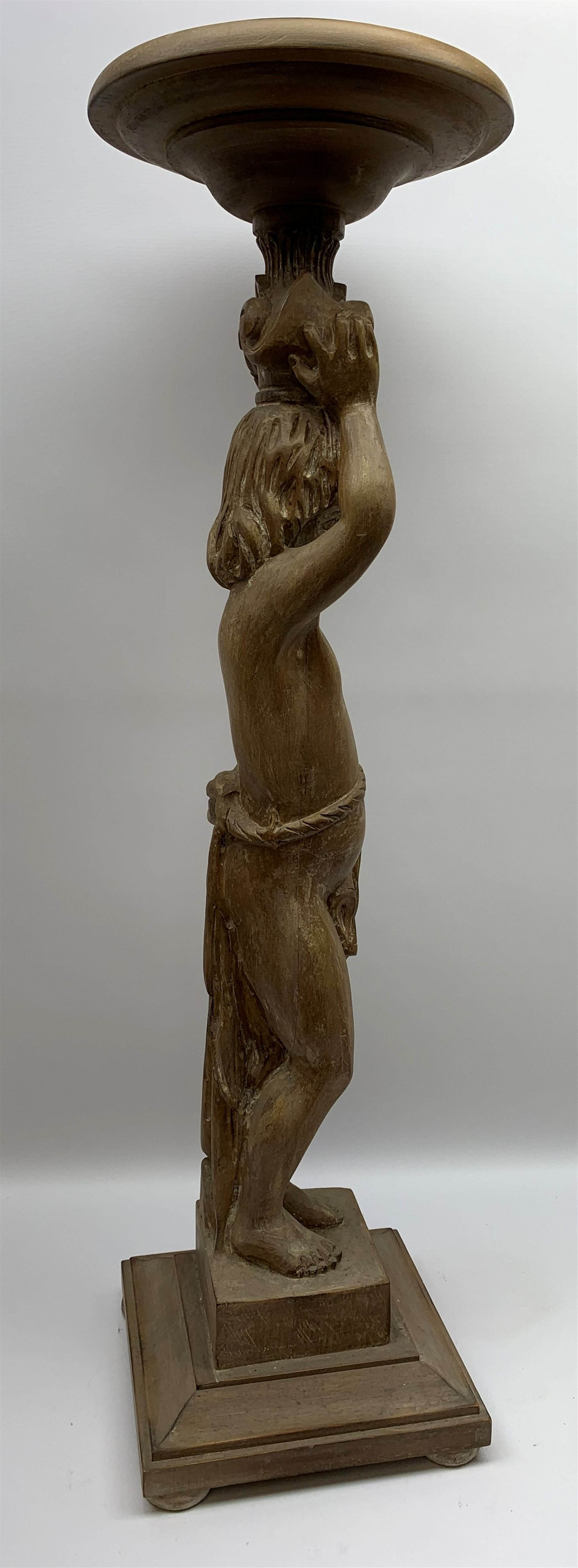 Italian carved lime wood torchère, the column modelled as a putto with arms raised supporting a - Image 2 of 9