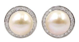 Pair of 9ct white gold pearl stud earrings