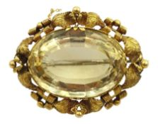 Large Victorian gold mounted citrine brooch