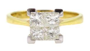 18ct gold four stone princess cut ring