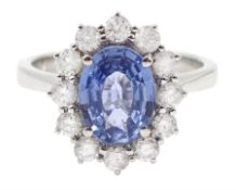 18ct white gold oval Ceylon sapphire and diamond cluster ring