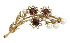 9ct gold garnet and pearl flower spray brooch